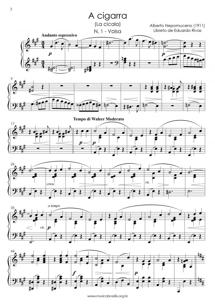 A Cigarra (extratos) I Valsa; II Cake-walk; III Entreato-valsa; IV Marcha (1911)