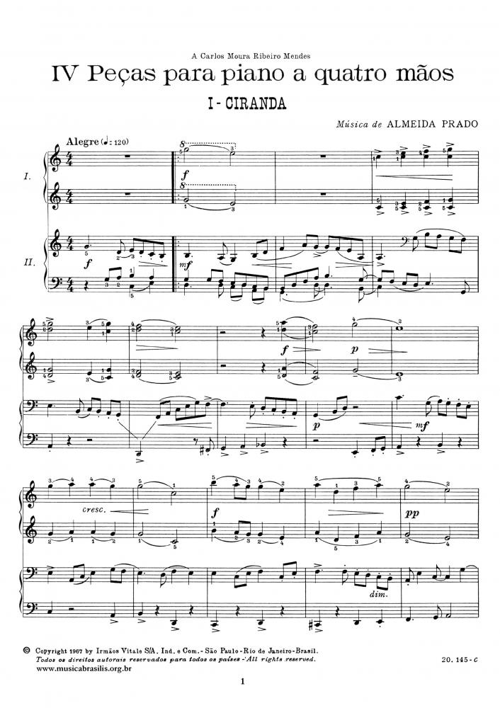 IV Peças para piano a quatro mãos