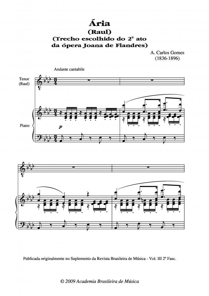 Ária (Raul) - Trecho escolhido do 2º ato da ópera Joana de Flandres