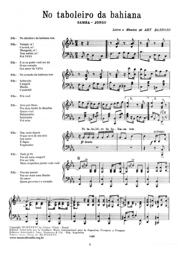 No tabuleiro da bahiana (piano)